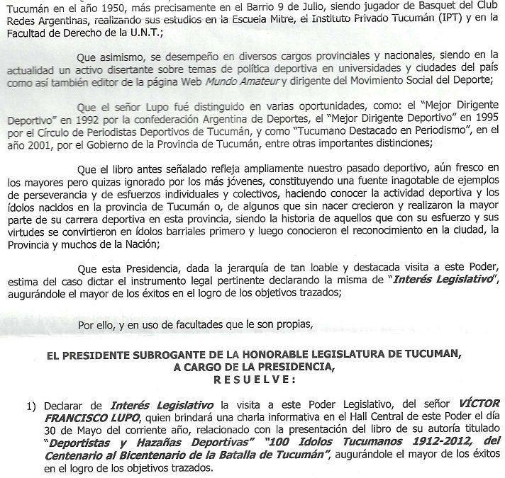 Tucumán: DECLARACIÓN DE INTERÉS DE LA LEGISLATURA TUCUMANA