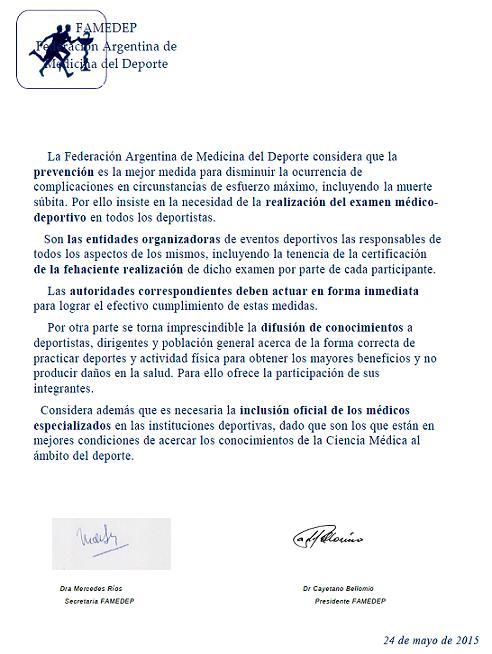 Comunicado de la Federación Argentina de Medicina del Deporte