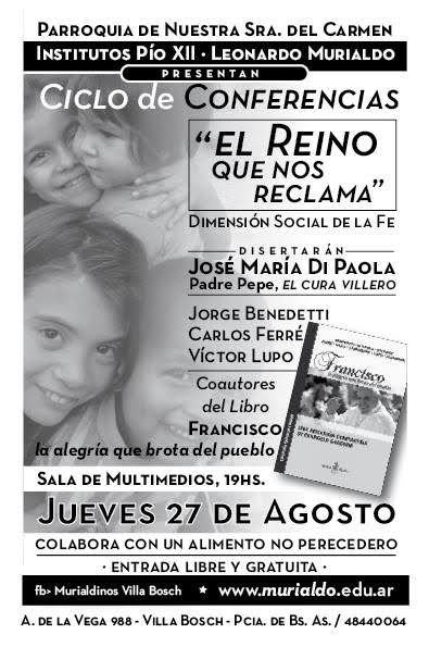 Buenos Aires:  Presentación del Libro: «FRANCISCO, LA ALEGRÍA QUE BROTA DEL PUEBLO»