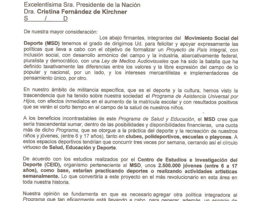 El Movimiento Social del Deporte propone: UN PROYECTO PARA MASIFICAR EL DEPORTE